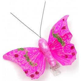 Декоративна фигурка пеперуда върху PVC щипка, декорирана с цветен брокат