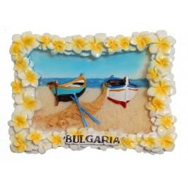 Декоративна релефна фигурка с магнит - морски бряг с две лодки на пясъка