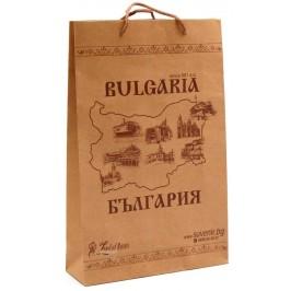 Сувенирна торбичка, декорирана с рисунки и карта на България