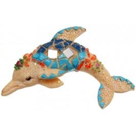 Декоративна фигурка с магнит - делфин, декориран с камъни
