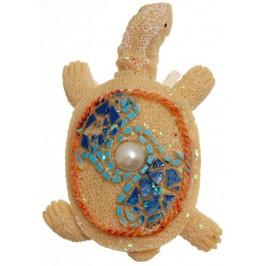Декоративна фигурка с магнит - костенурка, декорирана с камъни и перла