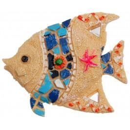 Декоративна фигурка с магнит - риба, декорирана с камъни