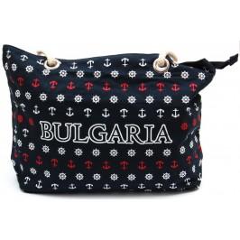 Лятна чанта текстил, декорирана с морясшки мотиви - тъмно синя