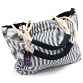 Лятна чанта текстил - раирана - тъмно синьо и бяло