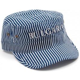 Лятна шапка от плат - раирана - синьо и бяло