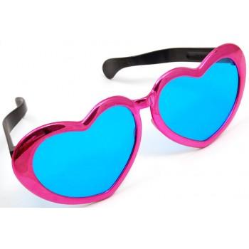 Карнавални очила - розови сърца - големи