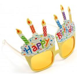 Карнавални очила - две тортички с по три свещи и надпис Happy Birthday