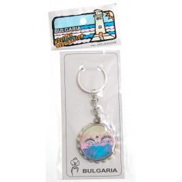 Сувенирен метален ключодържател отварачка във формата на капачка - два делфина и надпис България