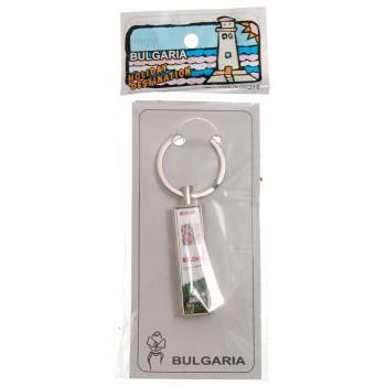 Сувенирен метален ключодържтел - свирка - надпис BG, украсен с рози и Двореца в Балчик