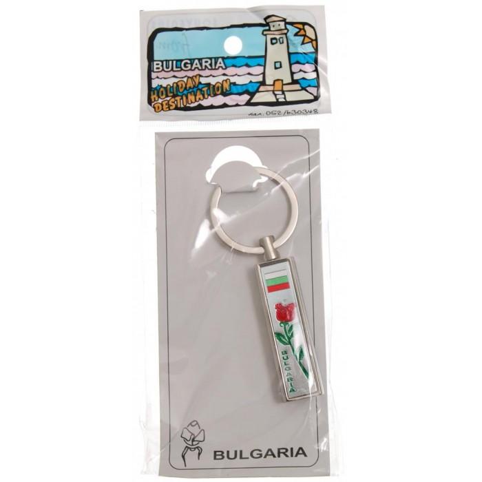 Сувенирен метален ключодържтел - свирка - роза с надпис България