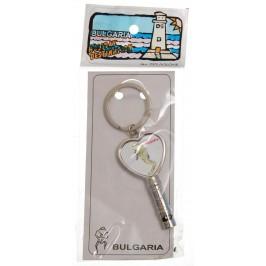 Сувенирен метален ключодържтел - свирка - морско конче и надпис България