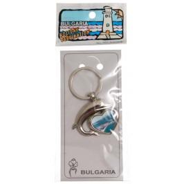 Сувенирен метален ключодържател - сърце с делфин - Созопол