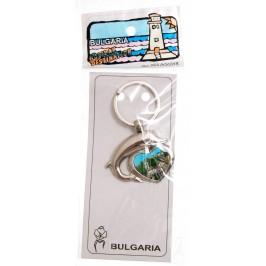 Сувенирен метален ключодържател - сърце с делфин - Балчик