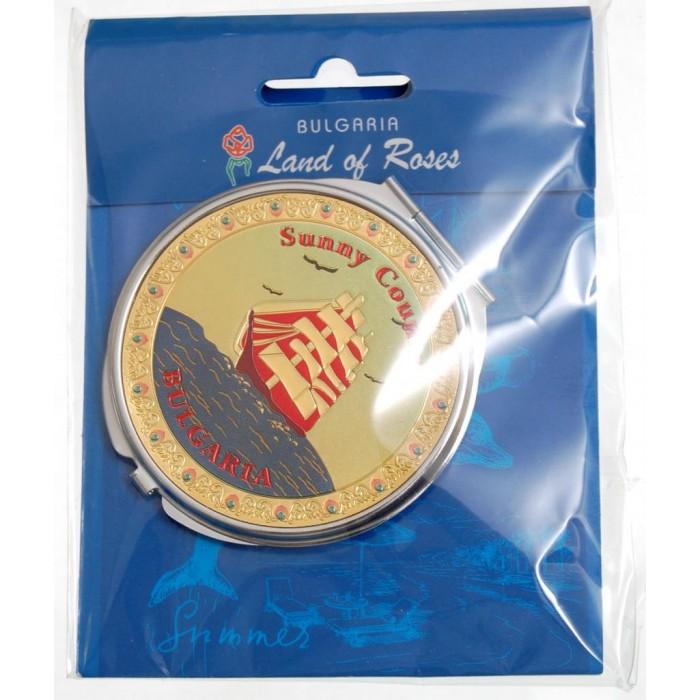 Сувенирно джобно огледало метал с капаче с декорирация - платноходка и надпис България