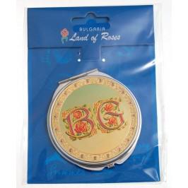 Сувенирно джобно огледало метал с капаче с декорирация - с надпис BG