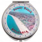 Сувенирно джобно огледало метал с капаче с декорирация - плажна ивица Слънчев бряг