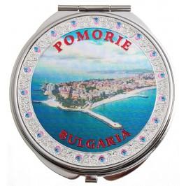 Сувенирно джобно огледало метал с капаче с декорирация - изглед от Поморие