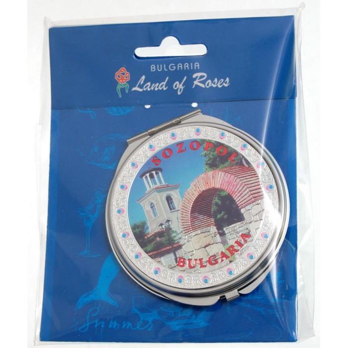 Сувенирно джобно огледало метал с капаче с декорирация - Созопол