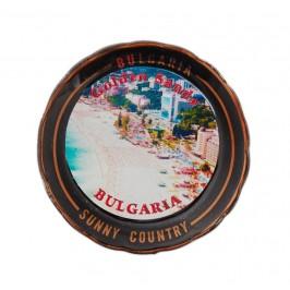Магнитна сувенирна чинийка с лазерна графика - плажове и хотели на Златни пясъци