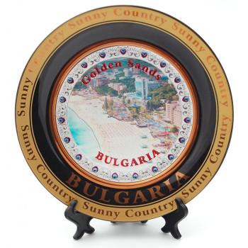 Сувенирна чинийка с лазерна графика - плажове и хотели на Златни пясъци