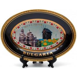 Сувенирна овална чинийка порцелан с пластмасова поставка и кукичка за закачване