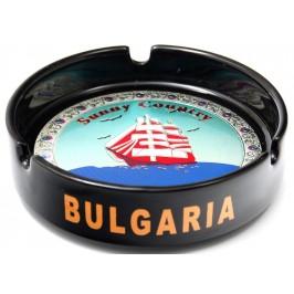 Сувенирен керамичен пепелник с лазарна графика - платноход и надпис България