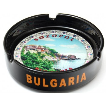 Сувенирен керамичен пепелник с лазарна графика - изглед от Созопол