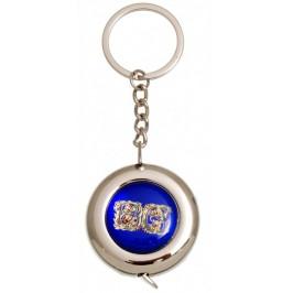 Сувенирен ключодържател с ролетка и графика - надпис BG, украсен с рози
