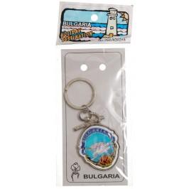 Сувенирен метален ключодържател - герб - Несебър и надпис България