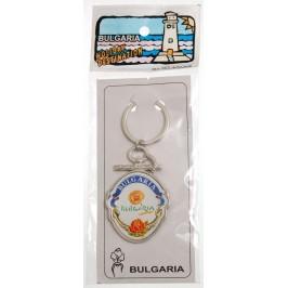 Сувенирен метален ключодържател - герб - лого на България и надпис BG
