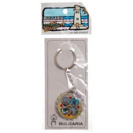 Сувенирен метален ключодържател отварачка във формата на капачка - четири снимки на черноморски забележителности