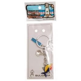 Сувенирен метален ключодържател - цветна рибка, мида и пластинка с надпис България