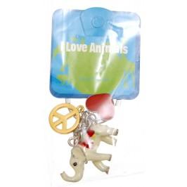Сувенирен метален ключодържател - слон с цветно седло