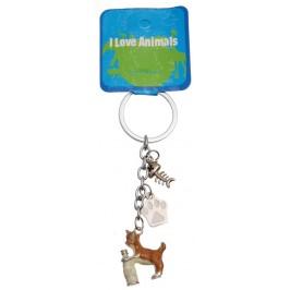 Сувенирен метален ключодържател - коте, лапа и рибешка кост