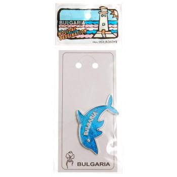 Декоративна магнитна фигурка - син делфин с надпис България