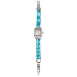 Дамски ръчен часовник с елегантен дизайн и верижка декорирана цветни камъни Предлага се с батерия
