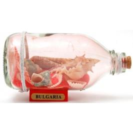 Сувенирна стъклена бутилка на дървена поставка - цветен пясък с рапани и мидички