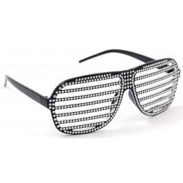 Карнавални очила - тип полицейски с решетка, декорирана с камъчета