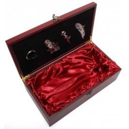 Луксозен комплект за вино от четири части - тирбушон, тапа, ринг, резач и място за бутилка в масивна дървена кутия