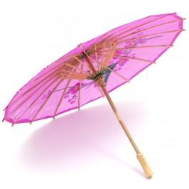 Сувенирно чадърче за слънце от бамбук и импрегниран плат с цветен принт - 40см