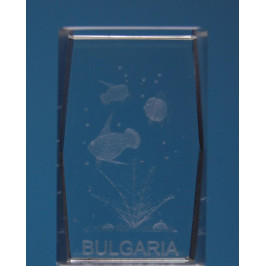 Безцветен стъклен куб с триизмерно гравирани три рибки и надпис България