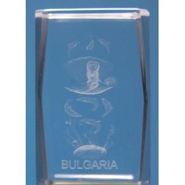 Безцветен стъклен куб с триизмерно гравирани - русалка върху мида, делфини и надпис България