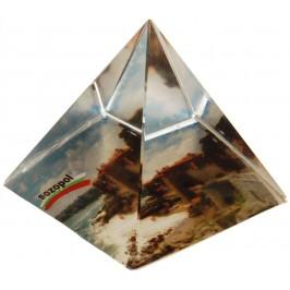 Сувенирна стъклена пирамида отразяваща - Созопол крепостна стена
