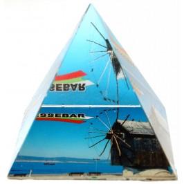 Сувенирна стъклена пирамида отразяваща - мелница Несебър