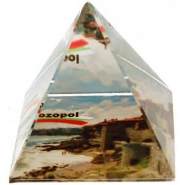 Сувенирна стъклена пирамида отразяваща - крепостна стена Созопол