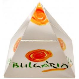Сувенирна стъклена пирамида отразяваща - логото на България