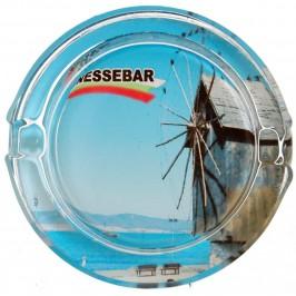 Сувенирен стъклен пепелник със снимка на мелницата в Несебър