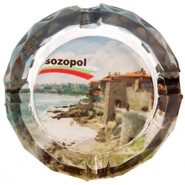 Сувенирен стъклен пепелник със снимка - Созопол