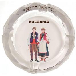 Сувенирен стъклен пепелник със снимка - мъж и жена в традиционни носии