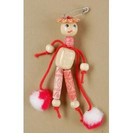 Мартеница дървена фигурка на момче с помпони